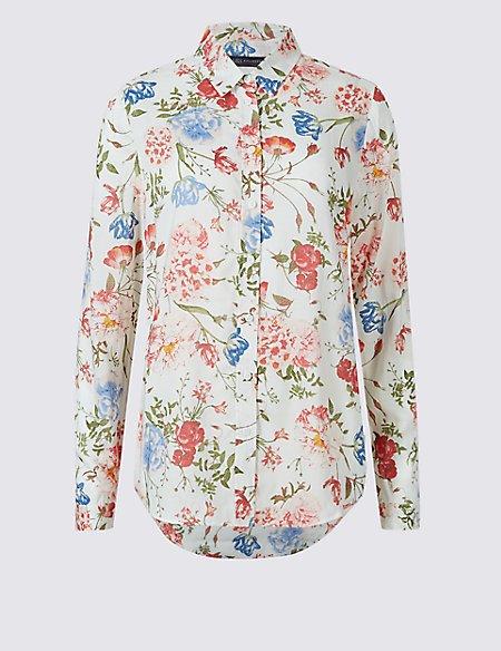 Pure Modal Floral Print Long Sleeve Shirt