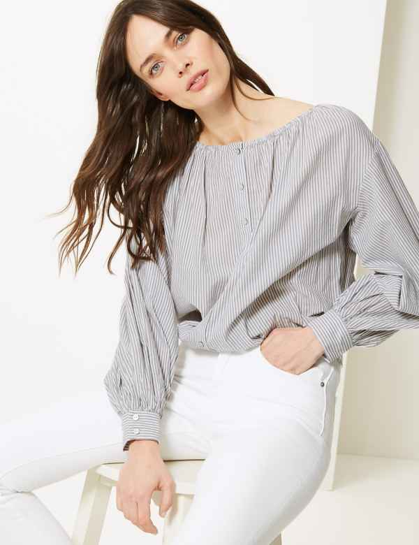 b406452b5eef0 Pure Cotton Striped Blouson Sleeve Blouse
