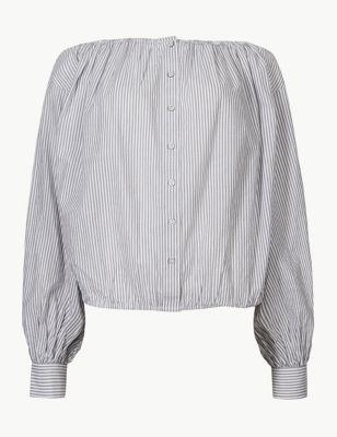 3c74133d913 Pure Cotton Striped Blouson Sleeve Blouse £25.00