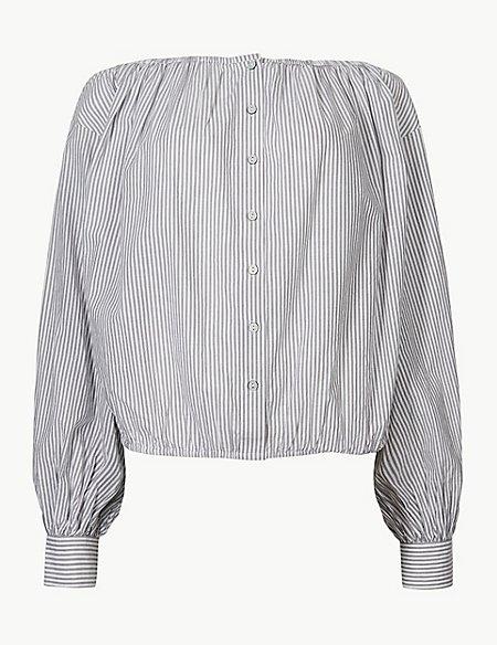 Pure Cotton Striped Blouson Sleeve Blouse