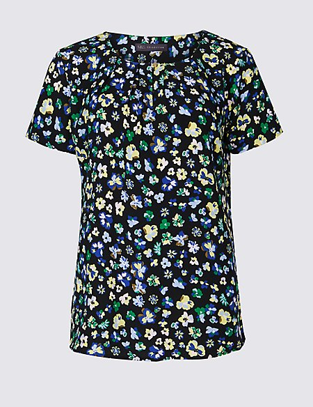 Pleat Front Floral Print Shell Top