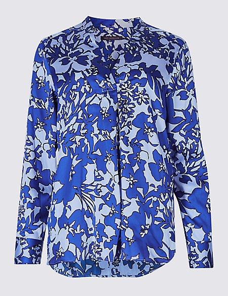 Floral Print Flared Sleeve Slash Neck Tunic