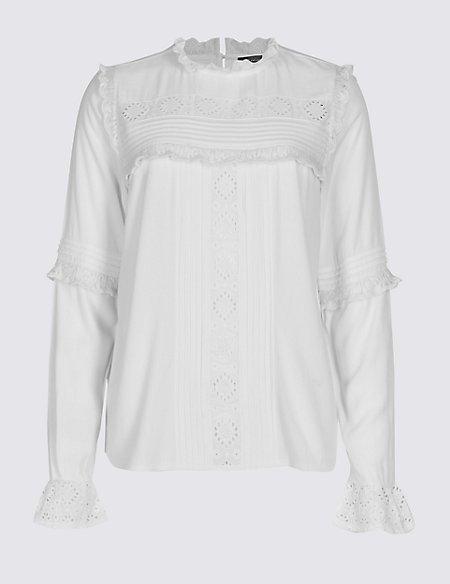 PETITE Ruffle Round Neck Long Sleeve Blouse