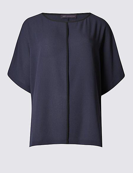 Contrasting Edge Kimono Shell Top