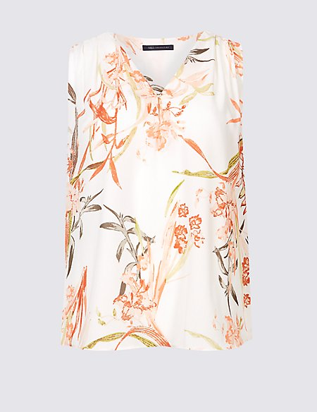 Floral Print V-Neck Shell Top