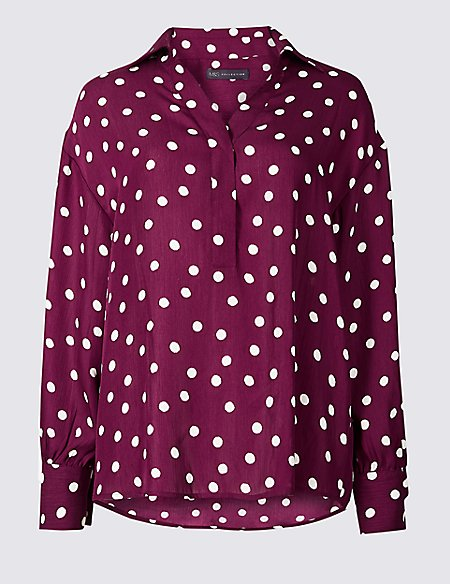 Spotted Collared Neck Long Sleeve Blouse