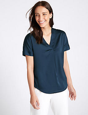 V-Neck Short Sleeve Blouse , NAVY, catlanding