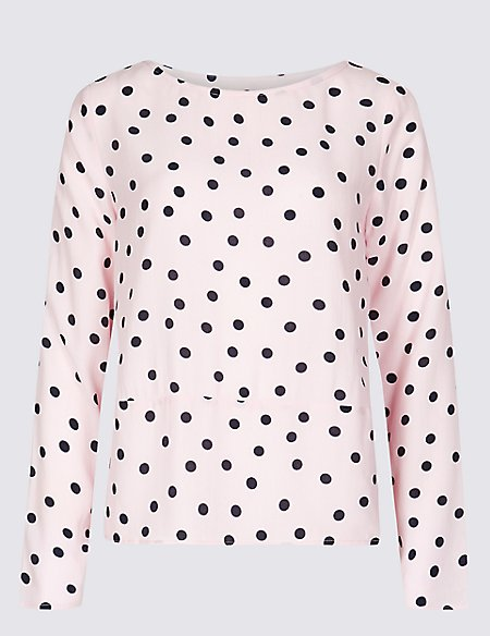 Spotted Round Neck Long Sleeve Blouse