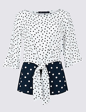 Spotted Tie Front 3/4 Sleeve Blouse