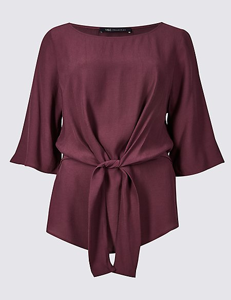 Tie Front Round Neck 3/4 Sleeve Blouse