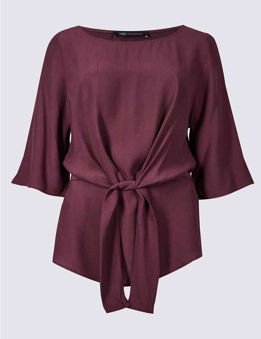 9d924ed6a47d7a Tie Front Round Neck 3 4 Sleeve Blouse