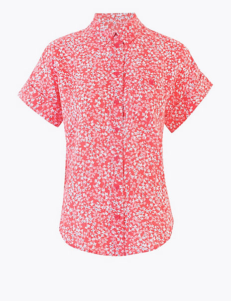 Pure Linen Ditsy Floral Shirt