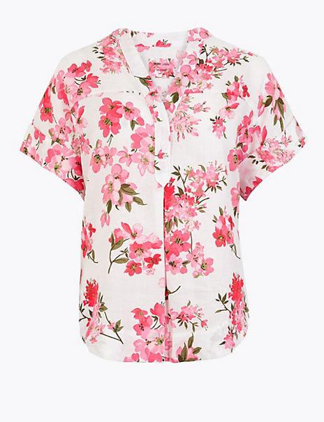 Pure Linen Floral Relaxed Popover Blouse