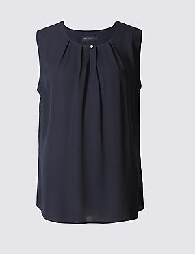 Pleated Round Neck Vest Top