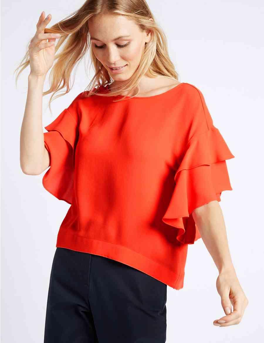 b3b61fed8c055 Round Neck Flamenco Sleeve Shell Top