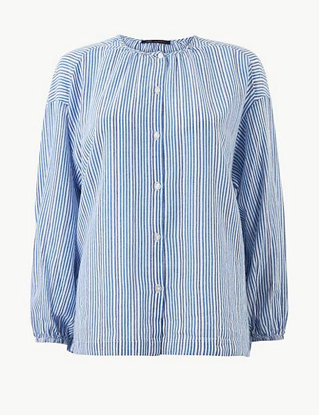 Pure Cotton Striped Blouse