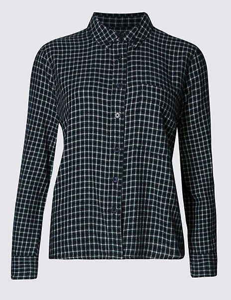 Pure Cotton Checked Long Sleeve Blouse