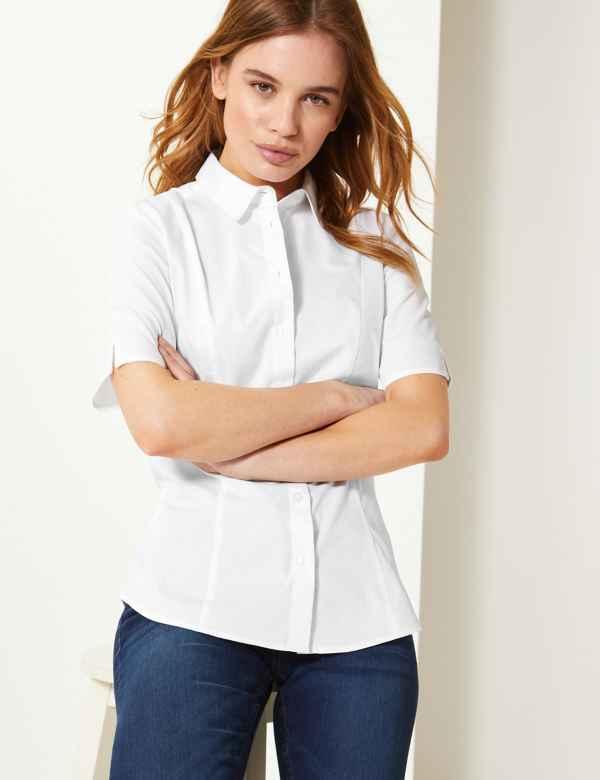 004038e8a94f5 PETITE Button Detailed Short Sleeve Shirt