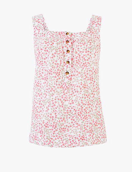 Pure Linen Ditsy Floral Camisole Top