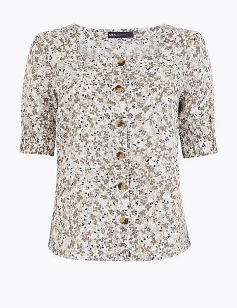 Pure Linen Floral Button Detail Blouse