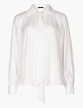 Satin Scarf Neck Shirt
