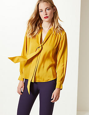 Satin Scarf Neck Shirt , YELLOW, catlanding