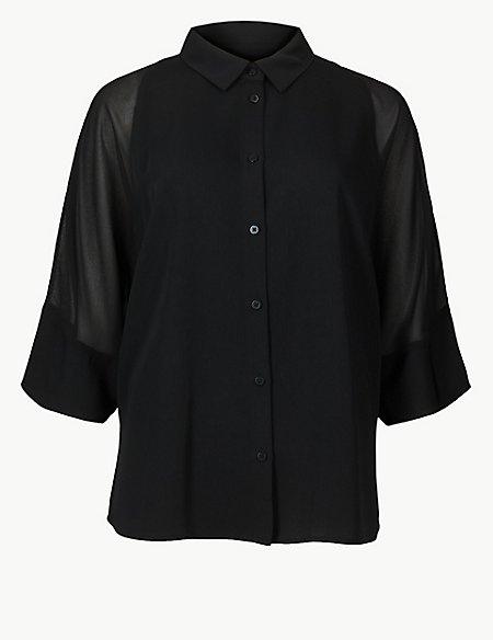 Sheer Insert3/4 Sleeve Shirt