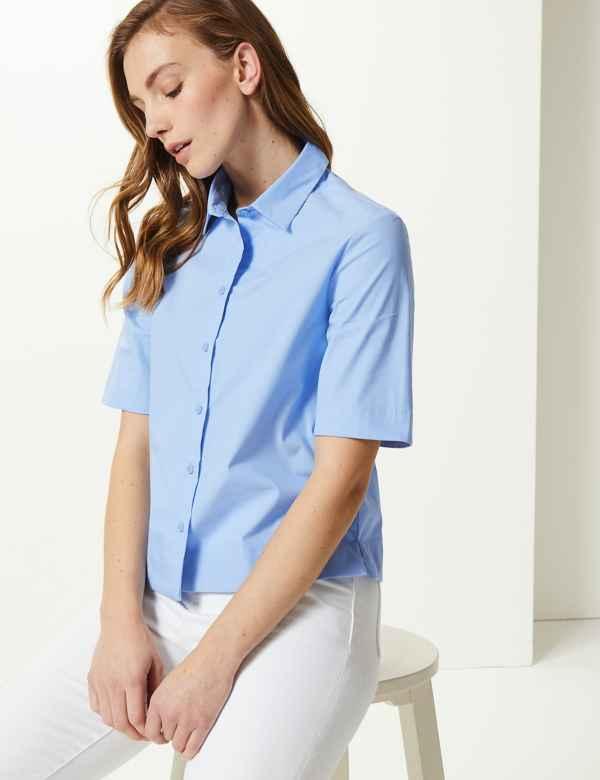 ea47d672505e7 Boxy Fit Cropped Shirt