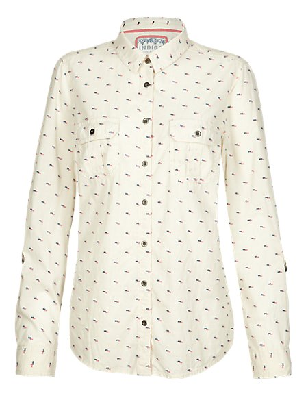 Pure Cotton Clipped Spotted Shirt