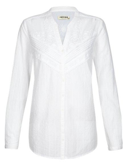 Pure Cotton Front Lace Shirt