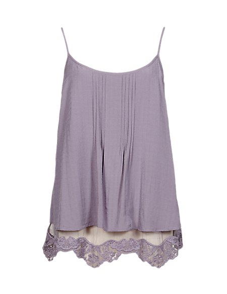 Tiered Floral Lace Trim Camisole Top