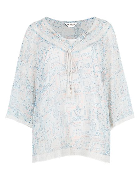 Lace Trim Batwing Sleeve Blouse with Camisole