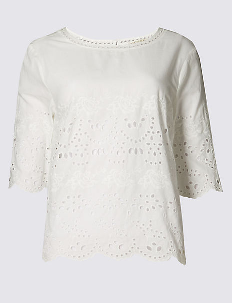 Pure Cotton Broderie Blouse