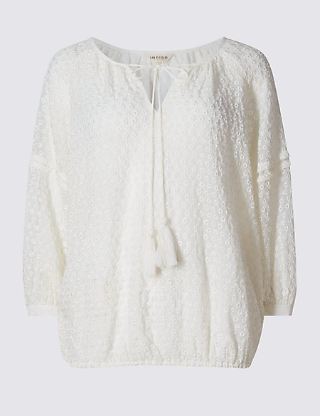 Spotted Dobby 3/4 Sleeve Blouse