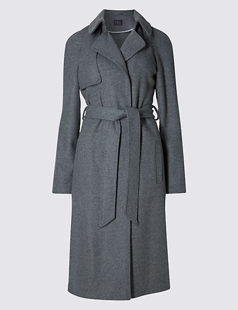 Wool Blend Double Face Trench Coat