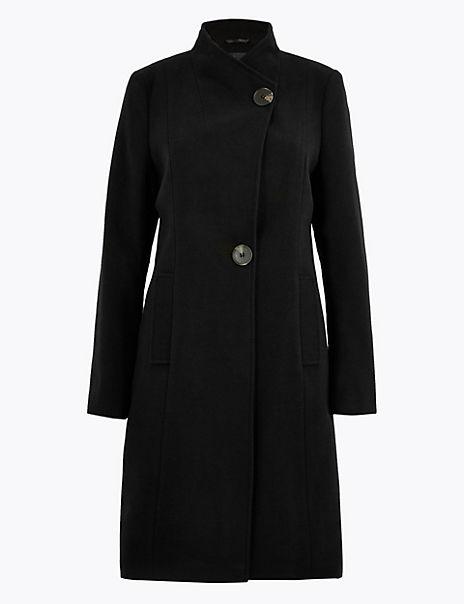 Button Detailed Wrap Coat