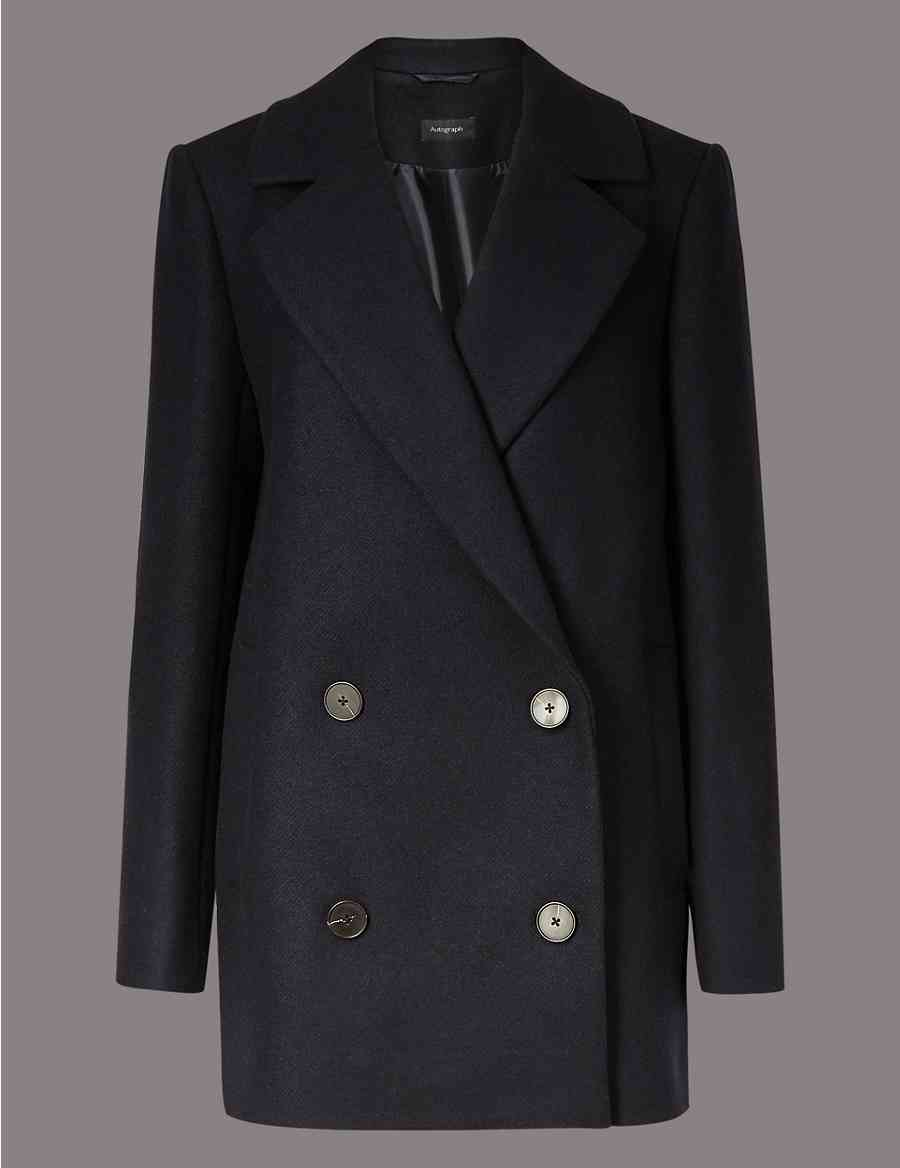 466c58d34c644 Wool Rich Double Breasted Peacoat