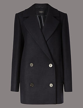 Wool Rich Double Breasted Peacoat