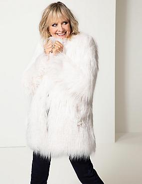 Textured Faux Fur Coat, WINTER WHITE, catlanding