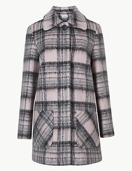 Checked Patch Pocket Coat