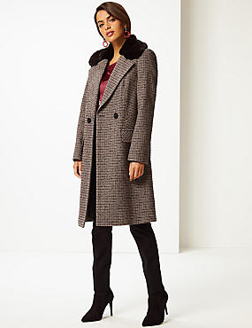 Checked Faux Fur Double Breasted Coat