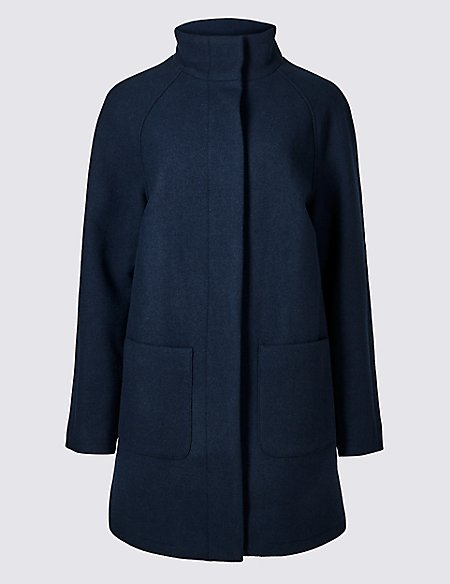 Wool Rich Funnel Neck Coat