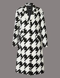 Wool Blend Dogtooth Print Coat