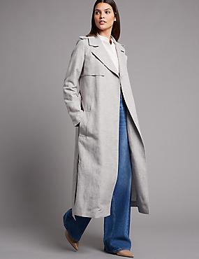 Linen Blend Duster Coat
