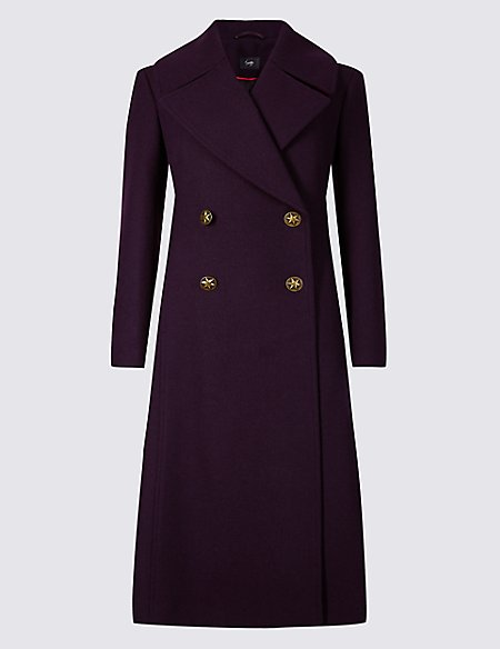 Wool Blend Double Breasted Duster Coat