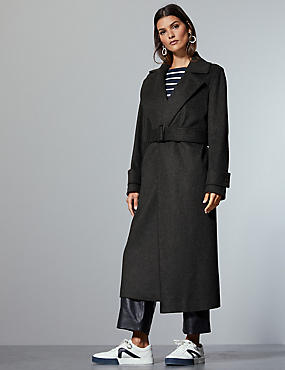 Wool Rich Wrap Coat with Cashmere