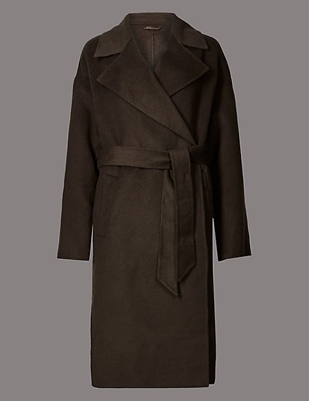 Wool Rich Textured Wrap Coat