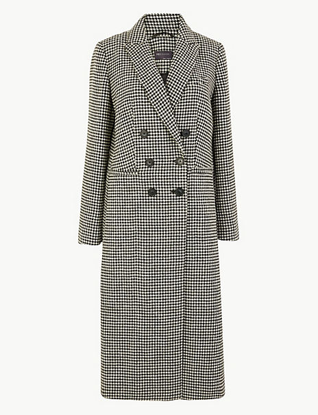 Wool Blend Dogtooth Print Overcoat