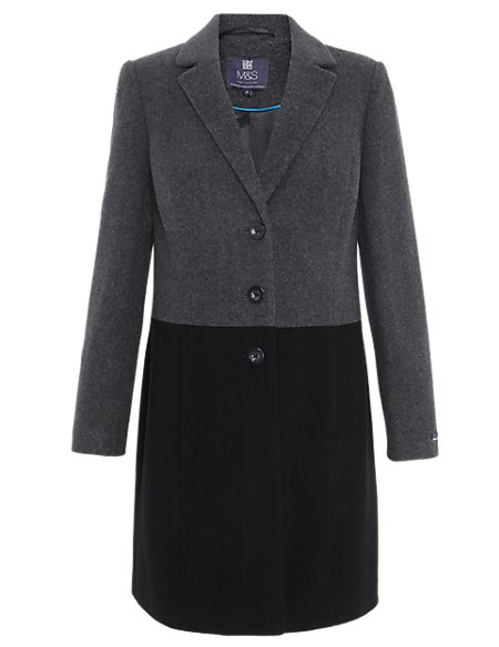 1ad7e13b392f Product images. Skip Carousel. Wool Blend Colour Block Coat with Cashmere
