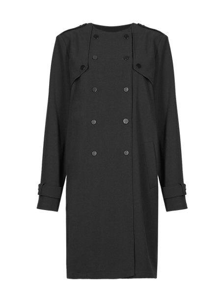 Oversized Double Breasted Crêpe Coat